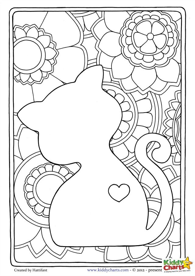 Cat kids coloring page. Beautiful design perfect for mindful coloring. And we have a second one for you too if you want to share with the kids. Download them both now.