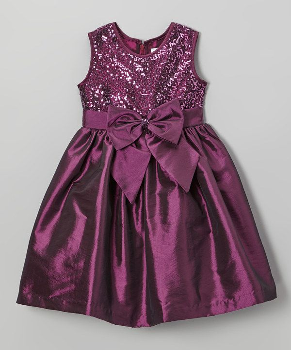 Take a look at this Plum Sequin Bow Dress - Girls on zulily today!