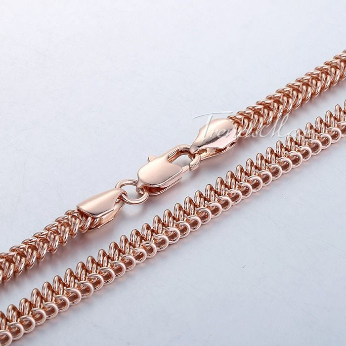 6 мм женщин сеть дамы девушки плетеный бисмарк ссылка белая роза желтого золота заполненные мода ювелирные изделия ожерелье оптовая продажа подарок GN278