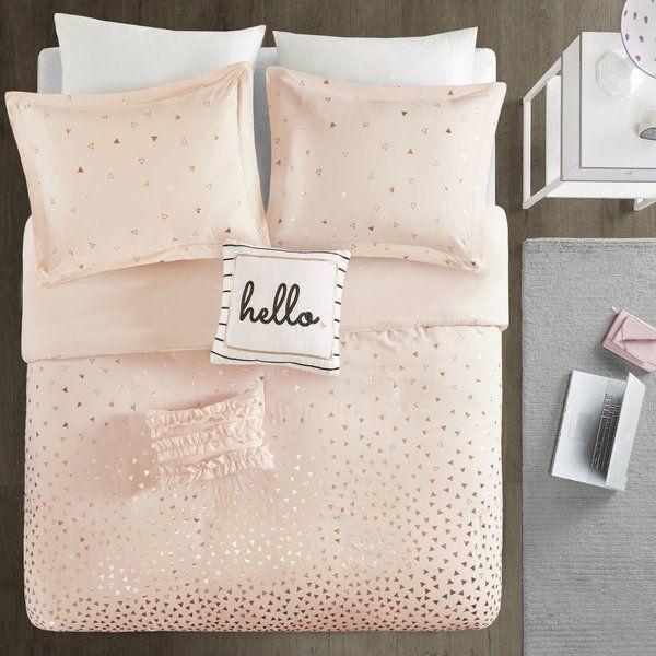 Plumerville Metallic Triangle Print Duvet Cover Set Comforter
