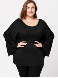 Plus Size Batwing Sleeve Tee - BLACK 5XL Mobile