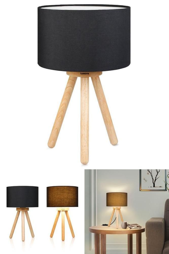 Tripod Side Table Lamp Bedside Wood Base Fabric Shade Night Light