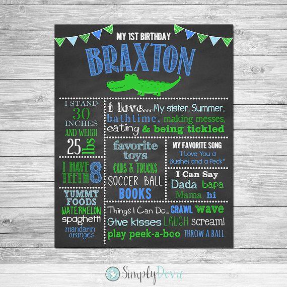 Alligator First Birthday Chalkboard Poster by SimplyDovie on Etsy Preppy Alligator Birthday Party