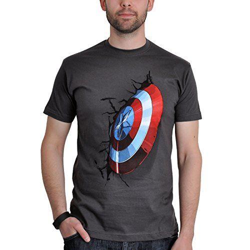 Avengers - Camiseta de Capitán América con con motivo Shield de Marvel - Licencia Oficial - Gris - M #camiseta #starwars #marvel #gift