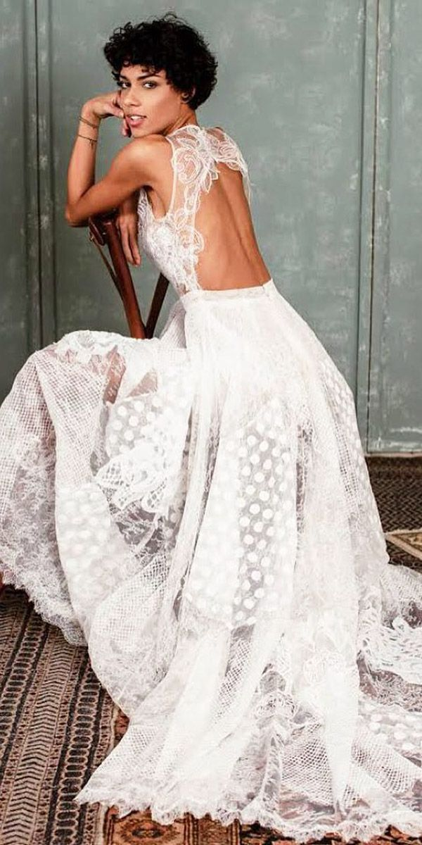27 Fantasy Wedding Dresses From Top Europe Designers ❤ fantasy wedding dresses a line open back embellishment sleeveless boho yolan cris ❤ Full gallery: https://weddingdressesguide.com/fantasy-wedding-dresses/