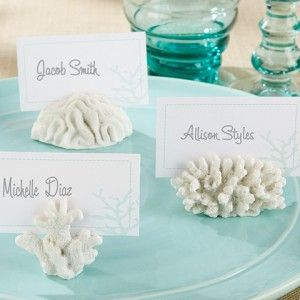 Coral Place Card Holders for a beach, tropical or nautical wedding. - Beach Front Occasions, www.beachfrontoccasions.com