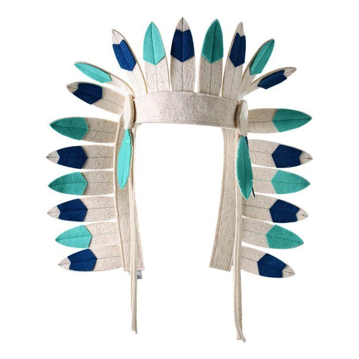 Frida's Tierchen Coiffe d'indien en feutre Bleu turquoise