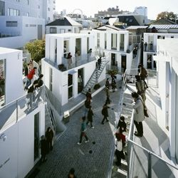 An open-air shopping mall on a tiny piece of land in Tokyo.
