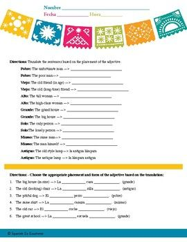 Adjective Placement   Stuff I want   Worksheets, English, Spanish