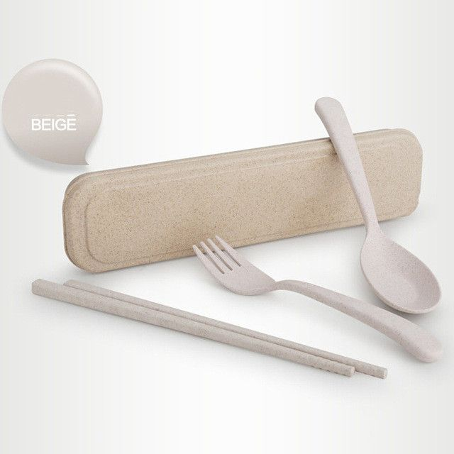 FHEAL Portable Eco-Friendly Wheat Straw Cutlery Travel Kids Adult Cutlery Dinnerware Camping Picnic Set Gift Kitchen Tools