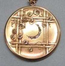 Large Art Nouveau Gold Filled Locket,  Crescent Moon.