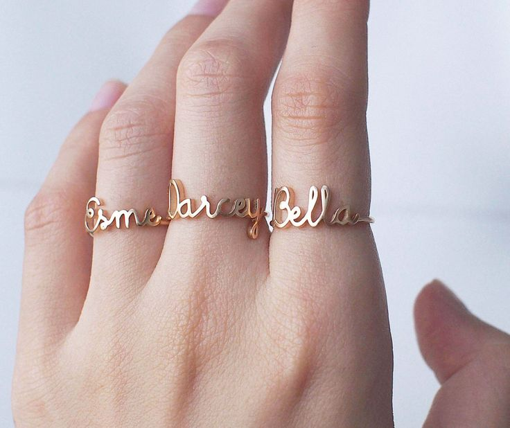 20% OFF Custom Name Ring - Personalized Name Ring - Baby Name Ring - New Mom Ring - Bridesmaid Jewelry in Gold, Rose Gold, Silver- PR04F63 by GracePersonalized on Etsy https://www.etsy.com/listing/245777090/20-off-custom-name-ring-personalized