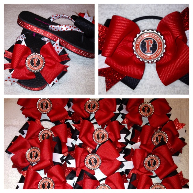Hair bows for Firecrackers 16U team -Pasco Fastpitch Softball- I think Firecrackers STX-(Hurdt) needs cute bows too!