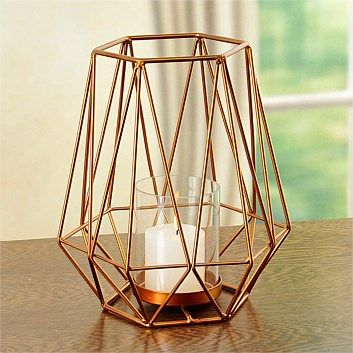 Choose from a selection of candle holders available in a range of styles & colours for the home. Order online at Briscoes & we will deliver to your door., Hexagonal Candle Holder Set Copper 2 Piece