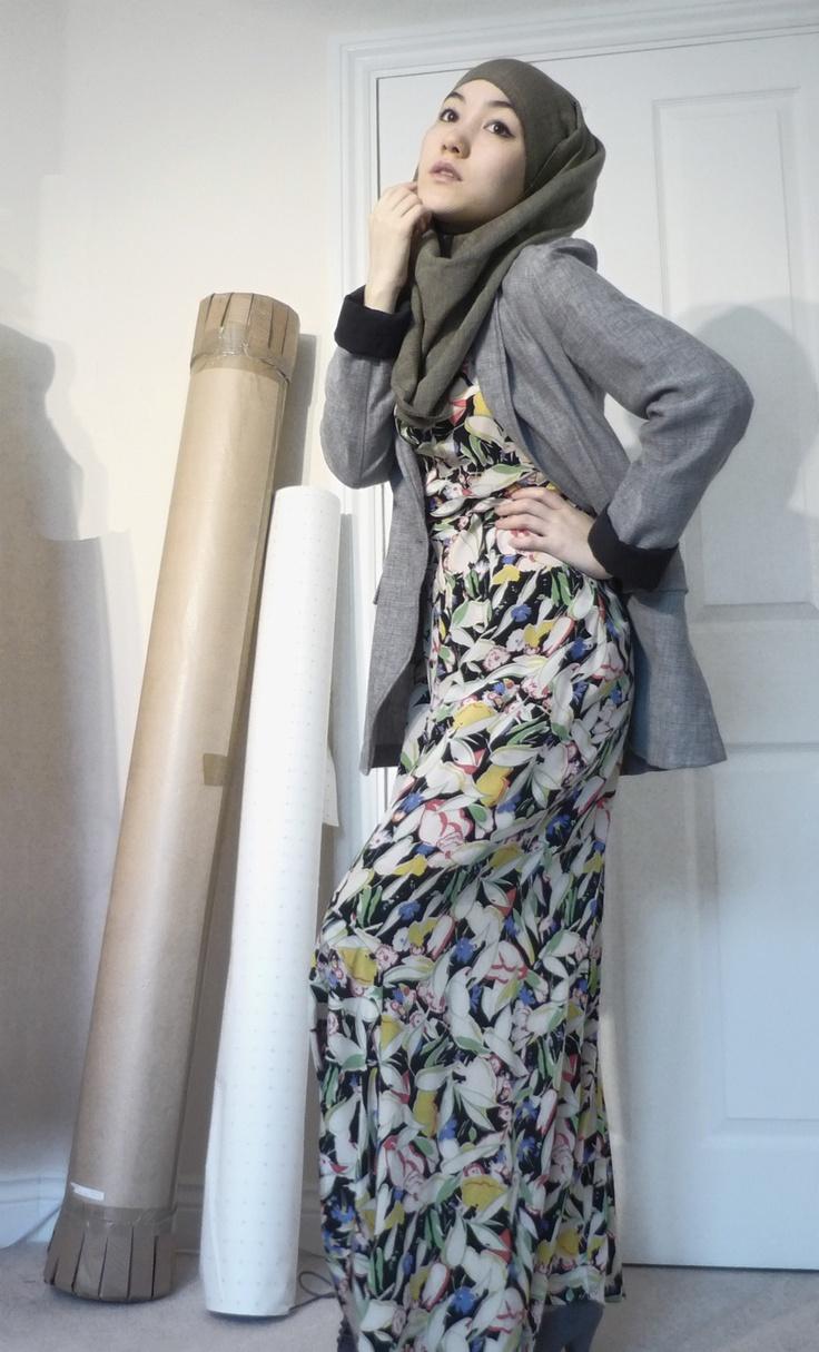 Vintage maxi dress, blazer