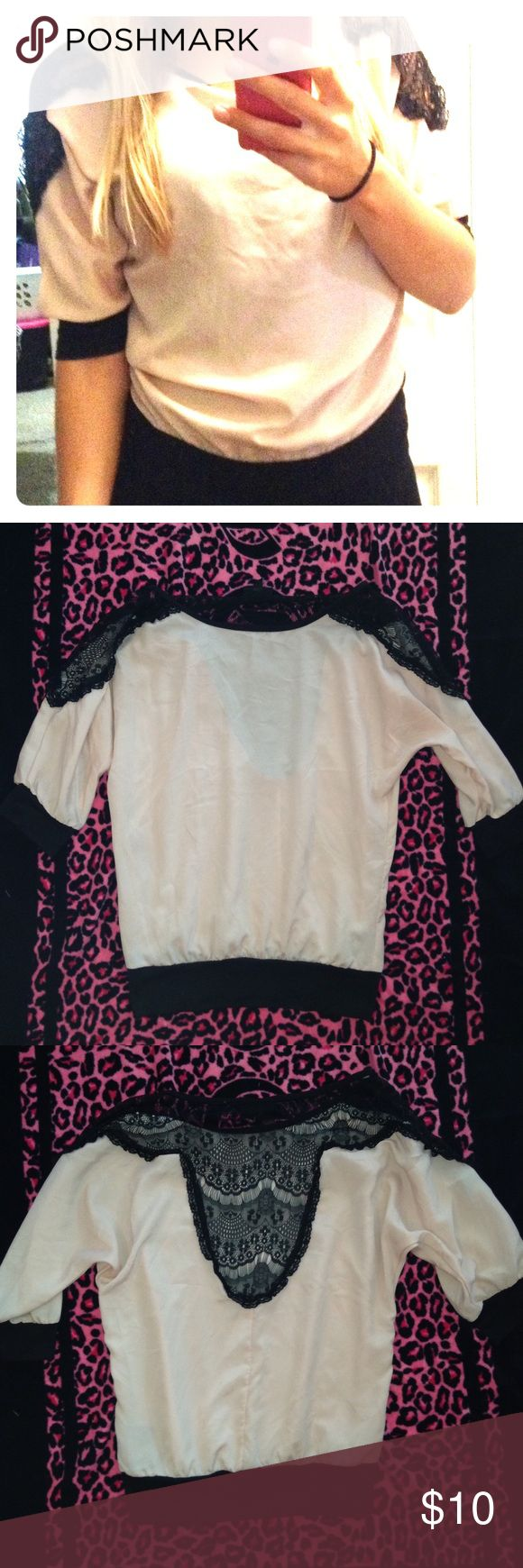 Pink lace top Pale pink top with black lace. Ships same or next day! Tops