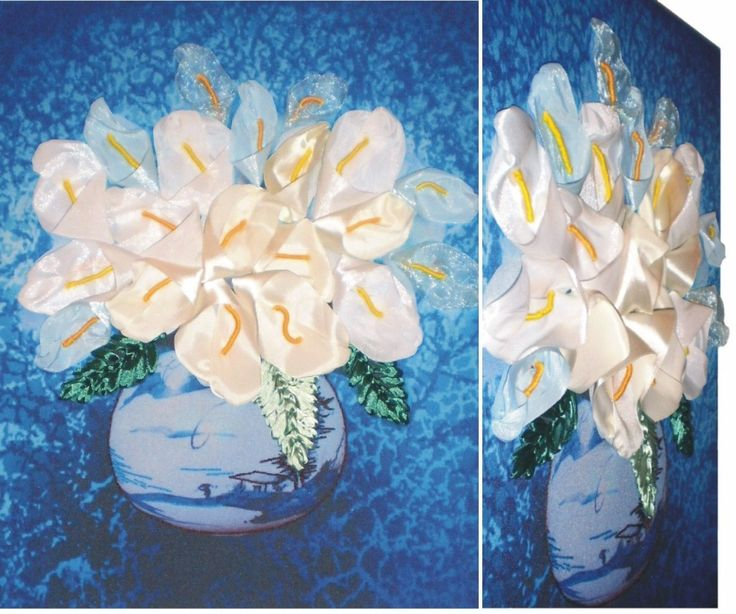 WHITE CALLA 01 3D Ribbon embroidery on printed canvas with back woodden frame size: cm. 39,5x50 Price: € 160,00 $ code: P004