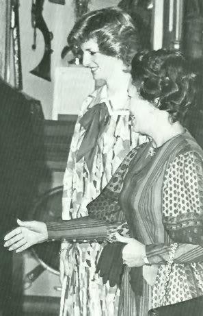 April 10, 1984: Princess Diana and Princess Margaret meet the Emir of Bahrain at Windsor Castle.