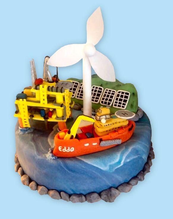 Oilrig energy cake - booreiland windmolen taart
