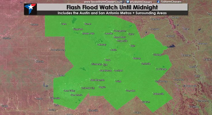 Flash Flood Watch for Central/South-Central TX Flash Flood Watch issued for parts of Central and South-Central Texas until midnight. This includes Llano, Marble Falls, Round Rock, Georgetown, Austin, Kyle, New Braunfels, San Antonio, Seguin, Gonzales, Bastrop, La Grange, and Hallettsville. This watch has been issued due to concerns about... Read the whole article at http://texasstormchasers.com/?p=33532 - David Reimer