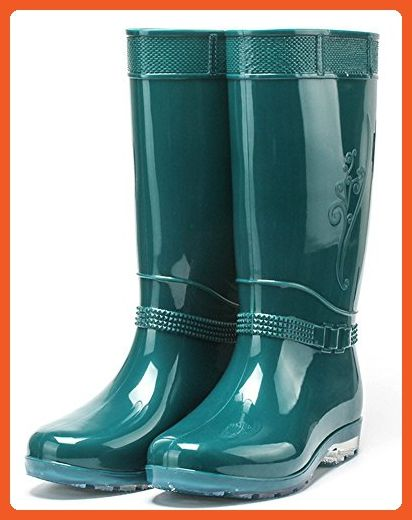 IDIFU Women's Antiskid Waterproof Low Chunky Heel Tall Wellies Rain Boots Dark Green 5.5 B(M) US - Boots for women (*Amazon Partner-Link)