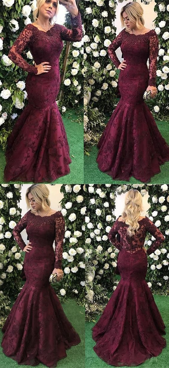Mermaid Off-the-Shoulder Long Sleeves Burgundy Prom Dress with Lace Beading  by RosyProm c5aa1115e01f