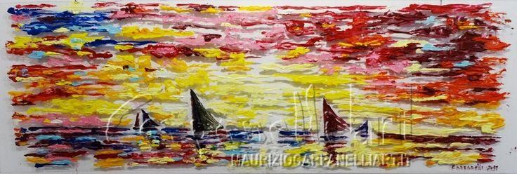 Tramonto sul mare  acrilico su plexiglas cm 150x50    #art #pittura #colori #arredamento #painting #quadri #mostred'arte #tramonto #barche
