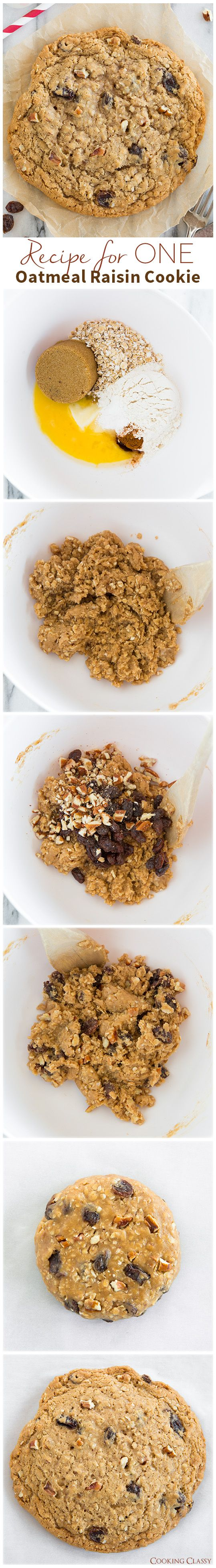 Recipe for One Oatmeal Raisin Cookie - no mixer required and so easy! This cookie tastes just like the big ones from the bakery! LOVED this recipe! If you don't like raisins swap them out for chocolate chips...