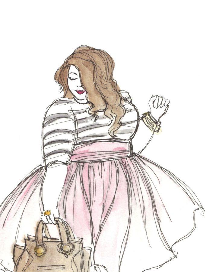 Falda de tul rosa además de ilustración de moda por CurvySketches