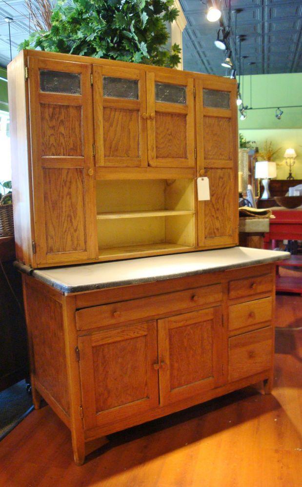 Antique Oak Wooden Hoosier Cupboard Cabinet