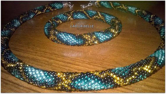 Azure python - seed bead crochet elegant set choker necklace & bracelet…