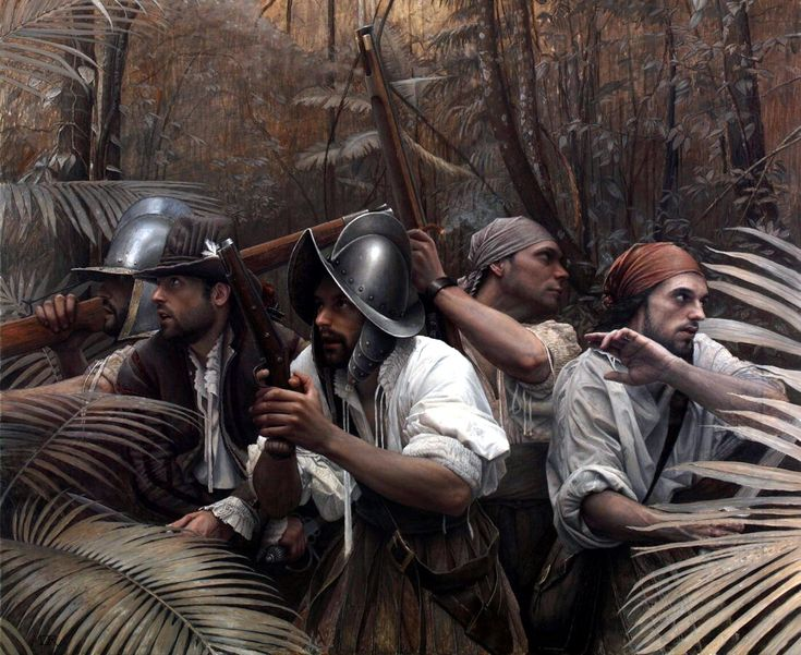 The Crisis- Spanish conquistadores somewhere in a jungle in the Indies