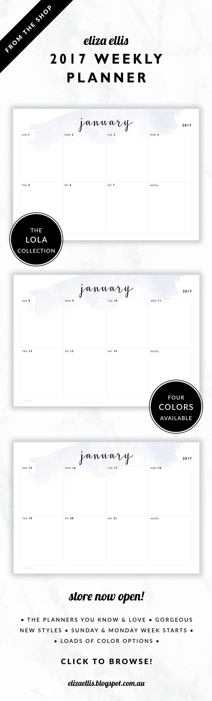 2017 Weekly Planner // The Lola Collection by Eliza Ellis. Delicate watercolor design with pretty hand drawn calligraphy font. Available in 4 colors – lilac, viola, snowdrop and peony. Monday and Sunday week starts included. Documents print to A4 or A5.