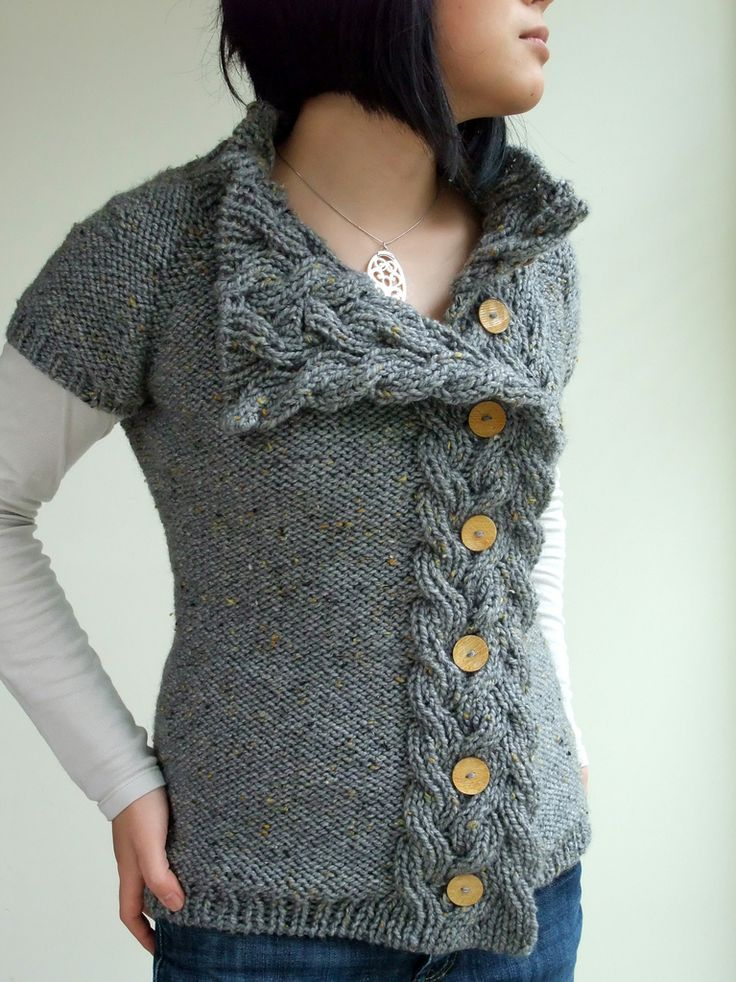 pattern: rosamund's cardigan, interweave knits fall 2009 yarn: patons shetland chunky tweed, less than 5 balls needles: US #10 and US #8 options modifications: gauge, fit, buttons all the way down, short row neck shaping  full details on my ravelry project page