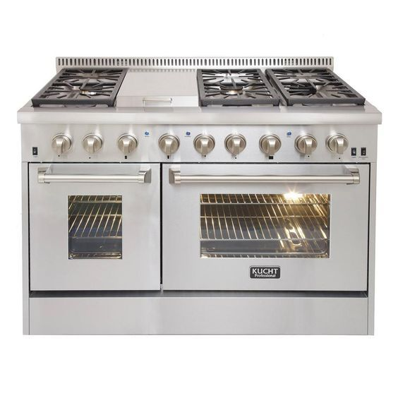 Kucht Pro-Style 48 in. 6.7 cu. ft. Dual Fuel Range with Sealed Burners, Griddle and Convection Oven in Stainless Steel (Silver)