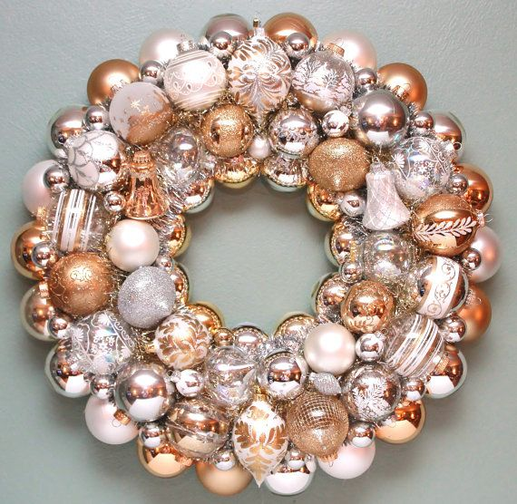 Christmas Ornament Wreath Gold Silver White by judyblank on Etsy, $299.00
