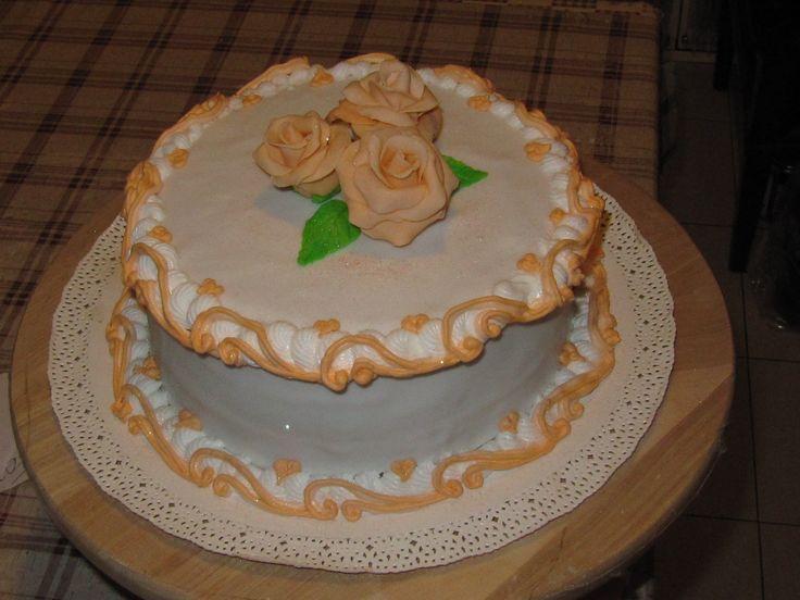 Moka cake decorated with Royal icing