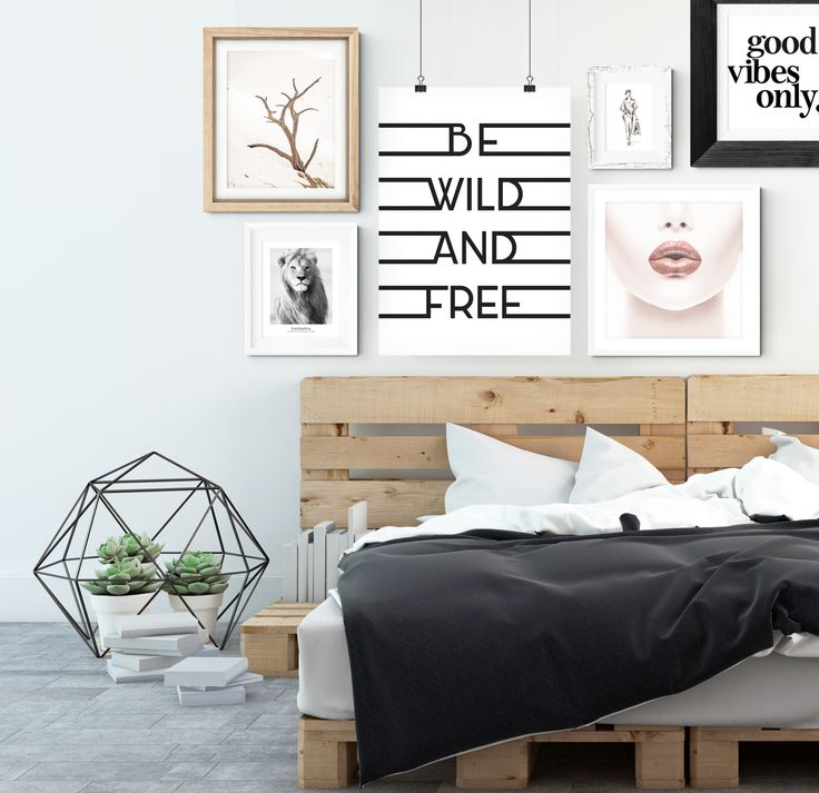 Beautiful poster with black and white photograph of a male lion. Stylish design that fits very nicely with minimalist and Scandinavian décor. This poster is equally magical by itself as it is or when it is combined with some of our other prints of similar design.