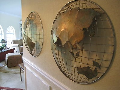 Vtg Curtis Jere World Globe Map Metal Wall Sculpture Brass