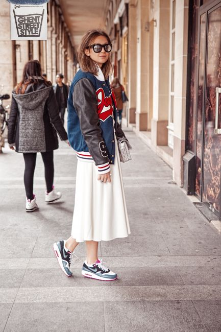 Streetstyle-Paris-College-jacket-Baseball-Skirt