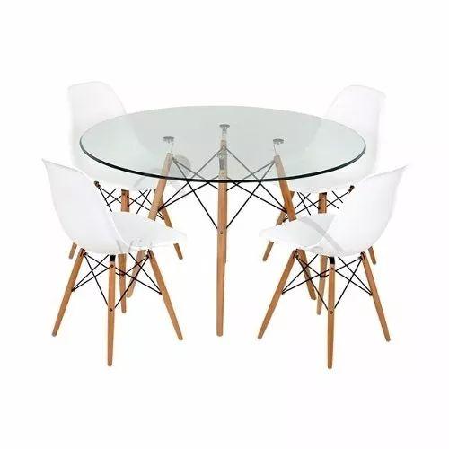 mesa eames comedor de vidrio + 4 sillas eames blancas
