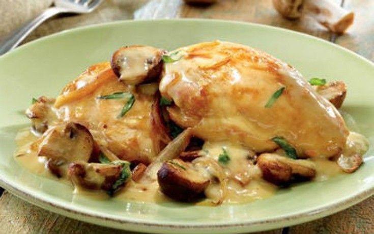 Κοτόπουλο με τυρί κρέμα και μανιτάρια