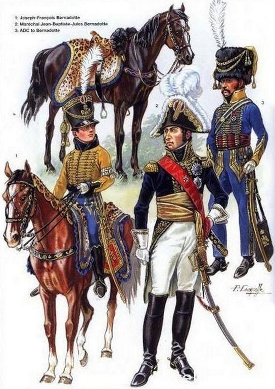 1-Joseph François Bernadotte.  2-Maréchal Jean-Baptiste Jules Bernadotte.  3-ADC de Bernadotte.
