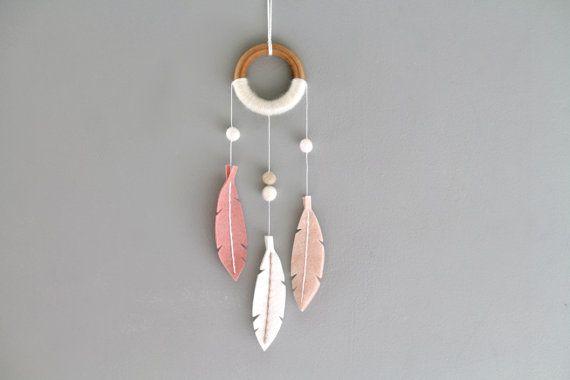 Small Modern Dreamcatcher. Pink Dream Catcher Wall Hanging.