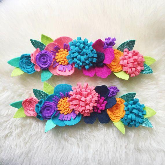 Corona de flor de fieltro / / venda de loro / / por BakerBlossoms