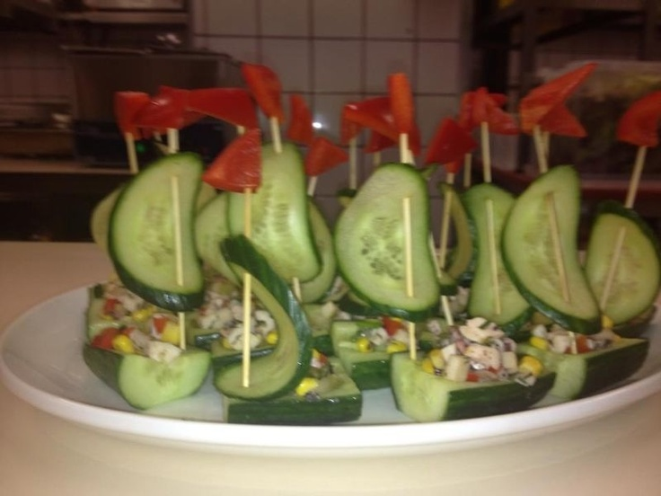 Nice #food! Sailboat made from cucumber. Greek #restaurant.