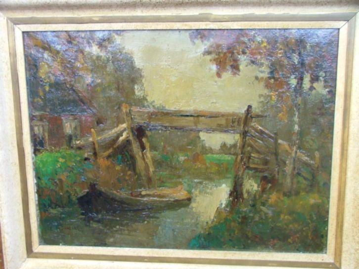 Piet Zwiers Giethoorn  PIET ZWIERS bruggetje in Giethoorn. olieverf op linnen afm doekmaat 40 x 30 cm het schilderij heeft een kleine restauratie (zie foto 2 ) de lijst is matig.