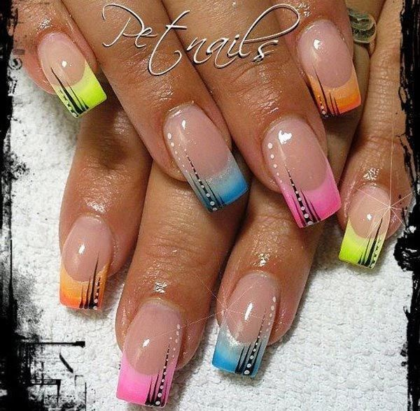 French Tip Nail Designs | rainbow tips french nails
