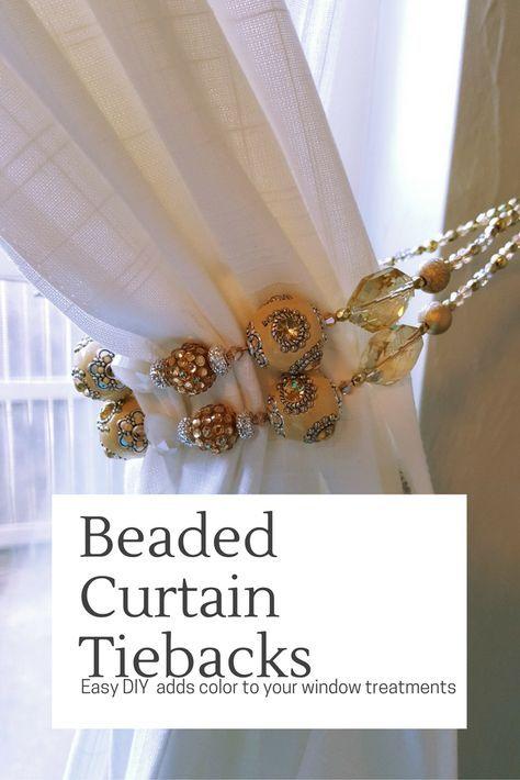 Easy DIY beaded curtain tie backs - good housewarming gifts!