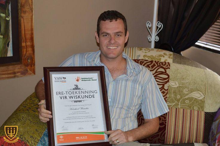 WESVALIA DOEN DIT WEER MET WISKUNDE Hoërskool Wesvalia ontvang erkenning van die Vereeninging van Afrikaanse Wiskunde Onderwysers (VAW) vir hul uitsonderlike prestasies in Wiskunde gedurende die 2014 NSS eksamen. Baie geluk aan Mnr Ben Pienaar. #Wesvalia #2014